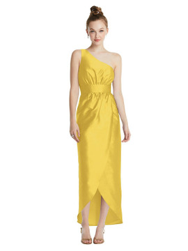 One-Shoulder Shirred Tulip Skirt Midi Dress TH073 By Thread Bridesmaids in 32 colors shown in daffodil