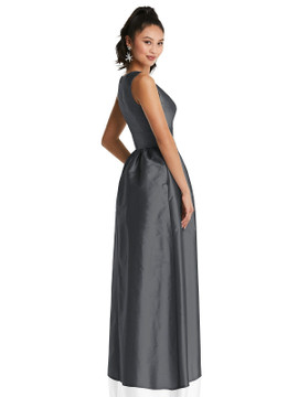 Plunging Neckline Maxi Dress with Pockets TH072 By Thread Bridesmaids in 32 colors shown in Mango