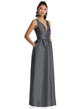 Plunging Neckline Maxi Dress with Pockets TH072 By Thread Bridesmaids