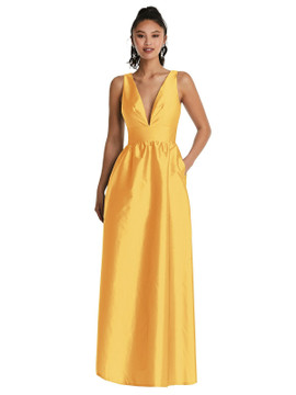 Plunging Neckline Maxi Dress with Pockets TH072 By Thread Bridesmaids in 32 colors in Mnago