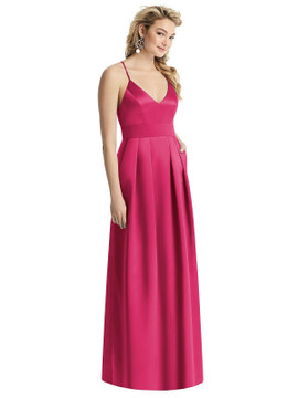 Pleated Skirt Satin Maxi Dress with Pockets By After Six 1521 in 74 colors shown in Posie