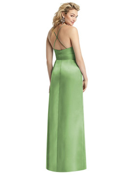 Pleated Skirt Satin Maxi Dress with Pockets By After Six 1521 in 74 colors shown in Apple slice