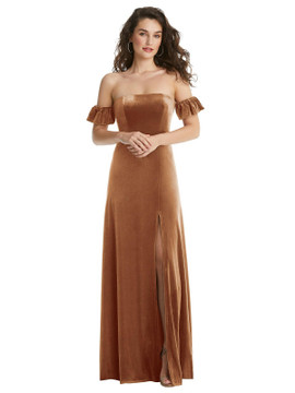 Ruffle Sleeve Off-the-Shoulder Velvet Maxi Dress By After Six 1553 in 9 colors in Golden Almond