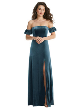 Ruffle Sleeve Off-the-Shoulder Velvet Maxi Dress By After Six 1553 in 9 colors in Dutch Blue