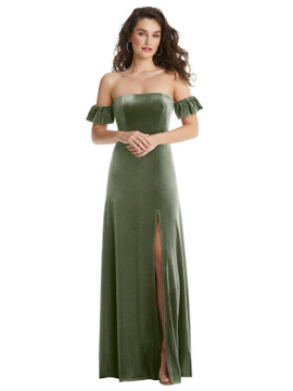 Ruffle Sleeve Off-the-Shoulder Velvet Maxi Dress By After Six 1553 in 9 colors in sage