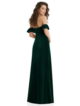 Ruffle Sleeve Off-the-Shoulder Velvet Maxi Dress By After Six 1553 in 9 colors