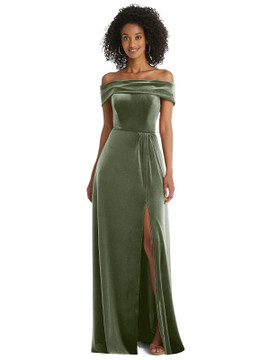 Draped Cuff Off-the-Shoulder Velvet Maxi Dress with Pockets By After Six 1554 in 9 colors