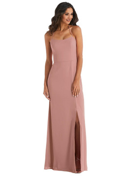 Spaghetti Strap Tie Halter Backless Trumpet Gown  After Six 1543 available in 37 colors shown in Mocha