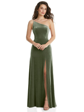 One-Shoulder Spaghetti Strap Velvet Maxi Dress with Pockets By After Six 1556 in 9 colors