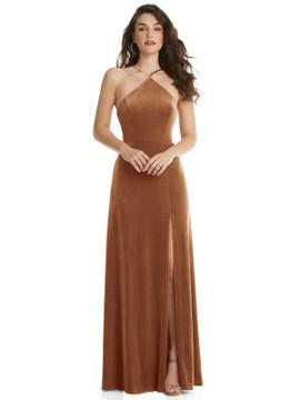 High Neck Halter Open-Back Velvet Dress - Alix By Lovely Style LB034 in 9 colors