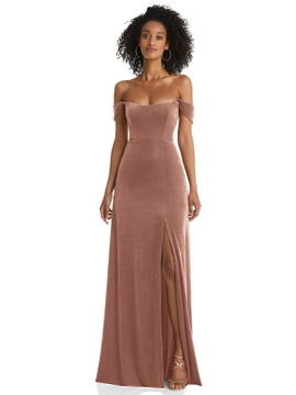 Off-the-Shoulder Flounce Sleeve Velvet Maxi Dress By After Six 1551 in 9 colors