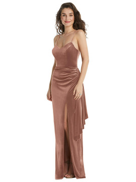 Spaghetti Strap Velvet Maxi Dress with Draped Cascade Skirt by After Six style 6851 in 9 colors