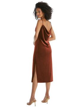 Asymmetrical One-Shoulder Velvet Midi Slip Dress By Social Bridesmaid 8212 in 9 colors