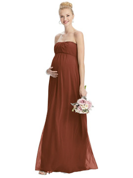 Strapless Chiffon Shirred Skirt Maternity Dress By Maternity Style M443 in 63 colors