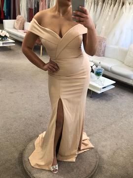 Gia Off the Shoulder Gown By Samantha Rose Nude Size 12