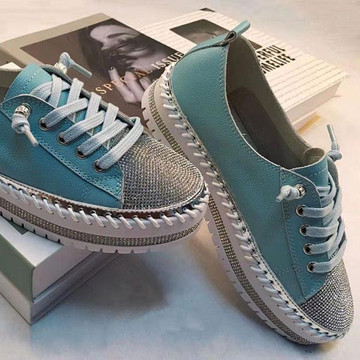 SKY leather crystal sneakers by Ameise in 8 colors in sky blue
