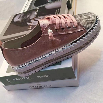 SKY leather crystal sneakers by Ameise in 8 colors in rose pink
