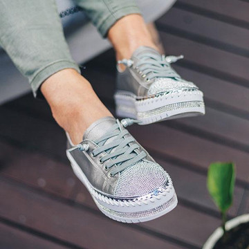 SKY leather crystal sneakers by Ameise in 8 colors