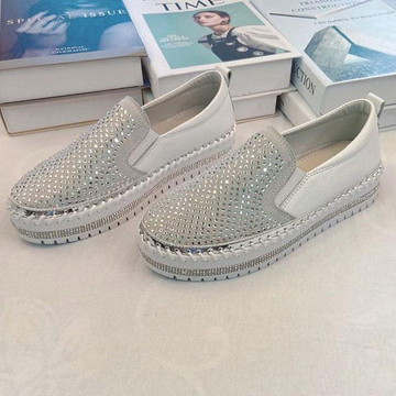 Crystal Leather Slip-on Sneakers by Ameise in white