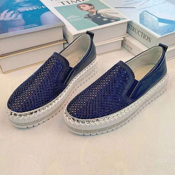 Crystal Leather Slip-on Sneakers by Ameise in navy