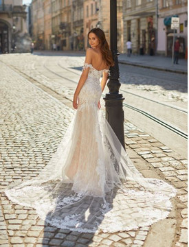 Delicate Lace Scalloped Illusion Train Mermaid Wedding Gown Stella H1483 by Moonlight Bridal  (Pre-Order now)
