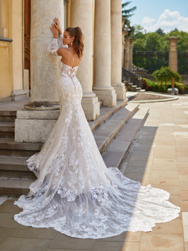 Leah H1490 by Moonlight Bridal  Sparkly Lace Mermaid Wedding Gown with Detachable Bishop Sleeves  (Pre-Order now)