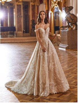 Super Sparkly Off the Shoulder Tulle and Sparkle Net Bridal Gown Isla H1472 by Moonlight Bridal