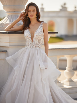 Shimmering Layered Organza Ball Gown with Beaded Lace Bodice Faith J6833 by Moonlight Bridal
