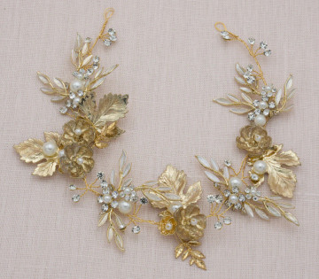 Gold Bridal Hair Vine Wedding Tiara (MITIARA5)