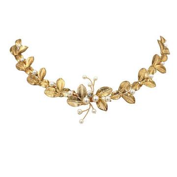 Gold Leaf and pearl detail Bridal Headband (MITIARA14)