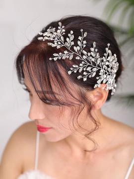 Handmade Silver Flower Rhinestone Wedding Headpiece