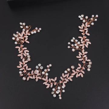 Pearl Crystal Vine Wedding Ribbon Headband (MITIARA20)