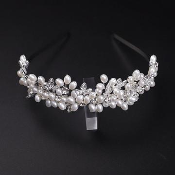Amy Bridal Crown Pearl Leaf Headband