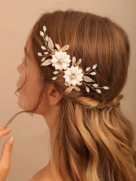 Crystal Gold Flower Bridal Headpiece (MITIARA31)