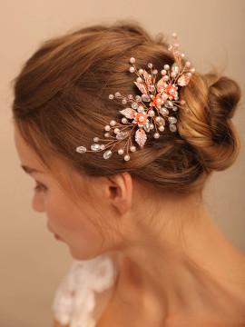 Vintage Rose gold Flower Bride Hairpins (MITIARA34)