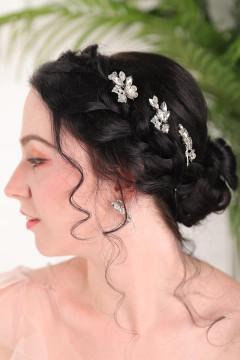 Silver Vintage Leaves & Flower Hair Pins (MITIARA36)