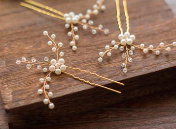 Elegant Pearl & Crystal Bridal Hair pins (MITIARA38)