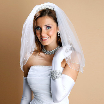 Scattered Pearl & Sequin 2-Layer Sheer Bridal or Flower Girl Veil