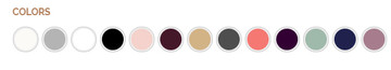 Colours in Order: Ivory, Silver, White, Black, Blush, Bordeaux, Champagne, Charcoal, Coral, Eggplant, Mint, Navy, Violet