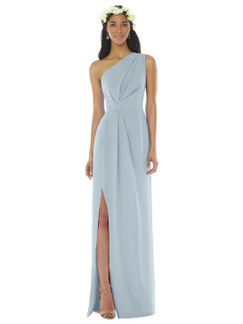 One-Shoulder Draped Bodice Column Gown by Social Bridesmaids 8156 in 33 colors