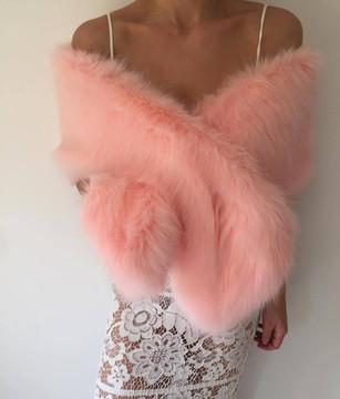 True Romance Fur Shawl Pink