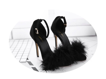 Clueless Fluffy Heels Black