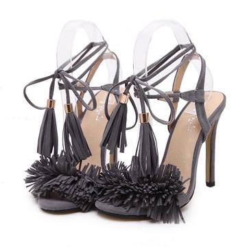 Gigi Lace Up Heels Grey
