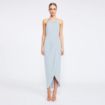 Shona Joy High Neck Ruched Dress - Powder Blue