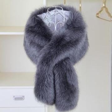 True Romance Fur Shawl Dark Grey