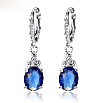 Drop Pendant Clasp Earrings in White or Blue