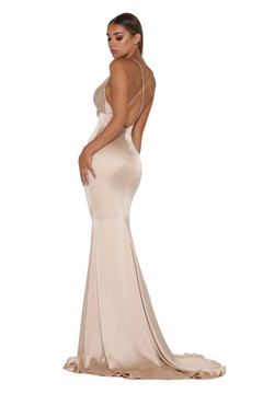 Dana Satin Dress Champagne by Portia & Scarlett