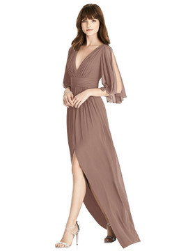 Split Sleeve Backless Chiffon Maxi Dress By After Six 6777 in 64 colors