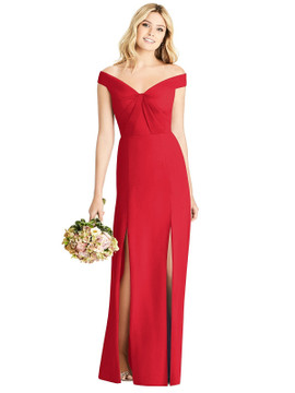 Off-the-Shoulder Pleated Bodice Dress with Front Slits By Social Bridesmaids 8186 in 34 colors in parisan red