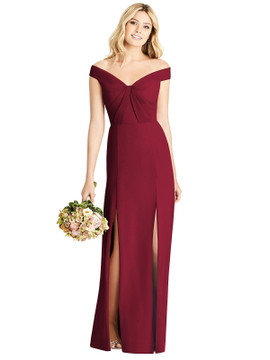 Off-the-Shoulder Pleated Bodice Dress with Front Slits By Social Bridesmaids 8186 in 34 colors